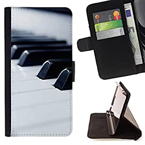 - Music Macro Piano Keys - - Prima caja de la PU billetera de cuero con ranuras para tarjetas, efectivo desmontable correa para l Funny HouseFOR HTC Desire 820