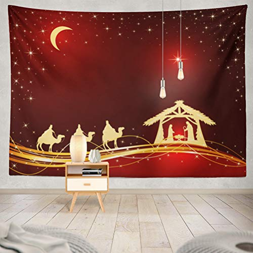 (threetothree 80x60 Inches Tapestry Wall Hanging Interior Decorative Christian Christmas Theme Birth Jesus Shining Star and Three Wise Men Red Christ for Bedroom Living Room Tablecloth Dorm)