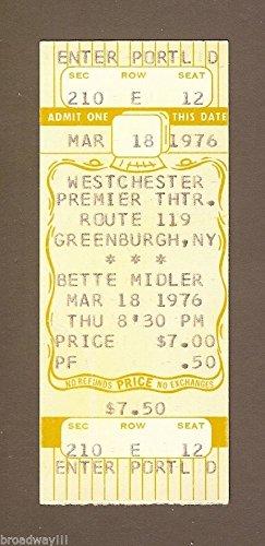 "BETTE MIDLER Westchester ""LIVE CONCERT"" Greenburgh, New York 1976 Unused Ticket"