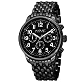 August Steiner Men's AS8147BK Black Multifunction Swiss Quartz Watch with Black Dial and Black Bracelet