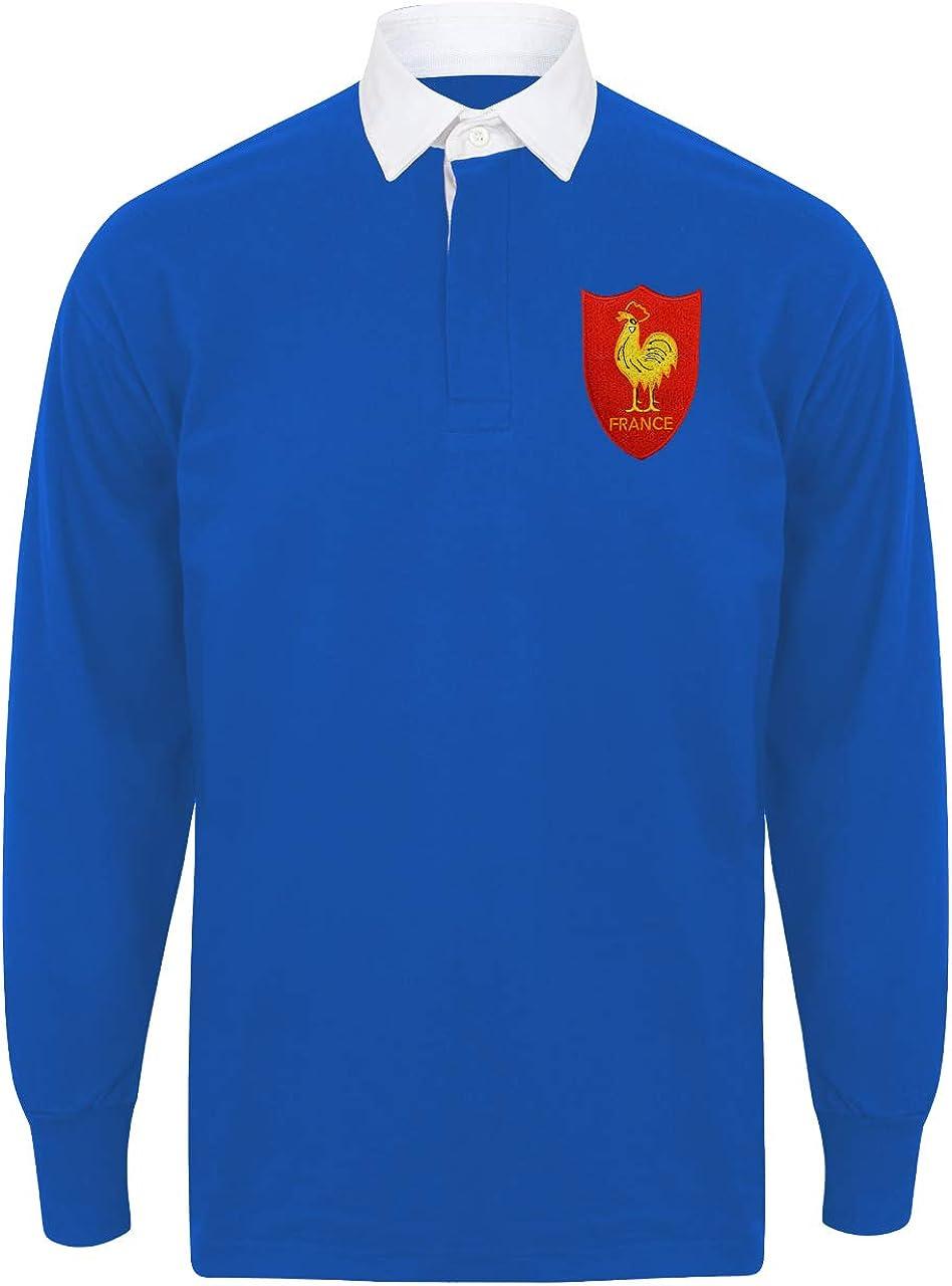 Camisa de rugby francés para hombre de manga larga y cuello francés, con un escudo bordado, de estilo vintage y de color azul real y blanco: Amazon.es: Ropa y accesorios