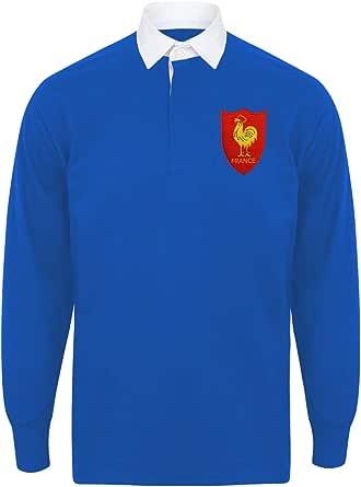 Camisa de rugby francés para hombre de manga larga y cuello francés, con un escudo bordado, de estilo vintage y de color azul real y blanco