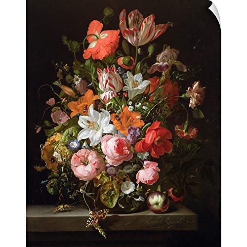 - CANVAS ON DEMAND Still Life of Roses, Lilies, Tulips and Other Flowers in a Glass vase Wall Peel Art Print, 19