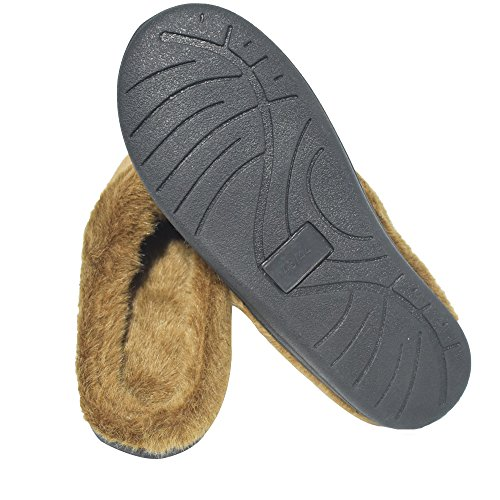 Q-plus Pantofole Uomo E Donna Memory Foam Fluffy Slip On House Slipper Warm Clog Soft Slipper Indoor Brown