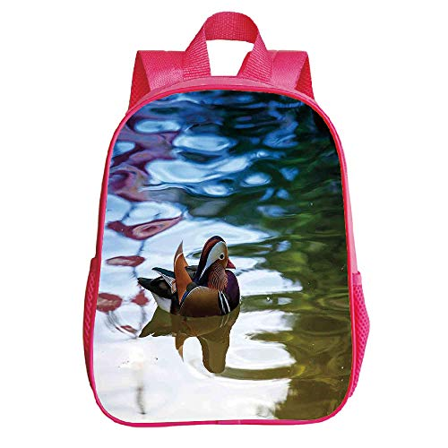Vogue Trumpet Red Backpack,Wildlife Decor,Chinese Mandarin Ducks Sail in River East Asian Winged Creature Peace Habitat,Multi,for Children,Diversified Design.11.8