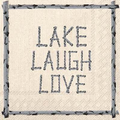 Lake Theme Napkins Set - Bundle Includes Guest Towels, Lunch Napkins, and Beverage Napkins in a Lake Laugh Love Design by TLP Party (Image #2)