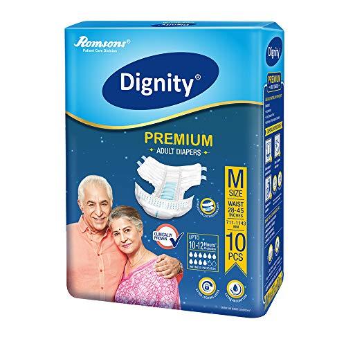 Dignity Premium Adult Diapers, Medium, Waist Size 28″ – 45″, 10 Pcs/Pack (Pack of 1)