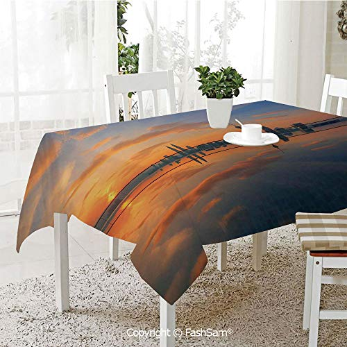 AmaUncle 3D Print Table Cloths Cover Magical Sunrise at The Pond with Reflected Sky View Morning Serene Silent New Day Image Kitchen Rectangular Table Cover (W60 xL104)]()