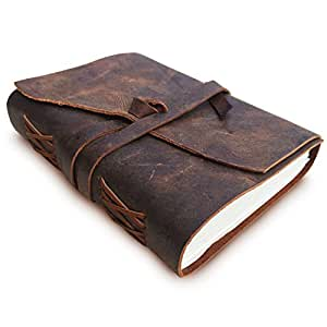 LEATHER JOURNAL Writing Notebook - Antique Handmade Leather Bound Daily Notepad For Men & Women Unlined Paper Medium 7 x 5 Inches, Best Gift for Art Sketchbook, Travel Diary & Notebooks to Write in