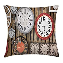 Clock Decor Throw Pillow Cushion Cover by Ambesonne, Antique Clocks on the Wall Instruments of Time Vintage Decorative Pattern, Decorative Square Accent Pillow Case, 18 X18 Inches, Brown and Red