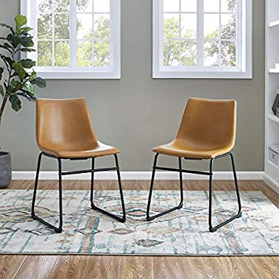 """Walker Edison Furniture Company 18"""" Industrial Faux Leather Armless Indoor Kitchen Dining Chair with Metal Legs Upholstered, Set of 2, Whiskey Brown - Dimensions: 28"""" H x 18"""" L x 22"""" W Set includes two chairs Synthetic leather upholstery and powder-coated steel metal legs - living-room-furniture, living-room, accent-chairs - 51Aafh6bryL. SS400  -"""
