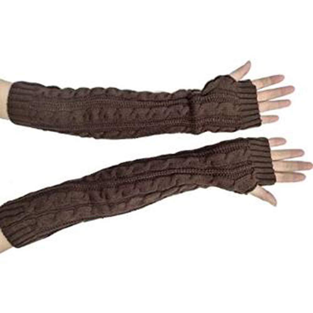 Butterme Della donna lana extra lunghi Guanti senza dita elastico Manicotti invernali Guanti in maglia a maglia senza dita braccio scaldini Mittens ZUMUii