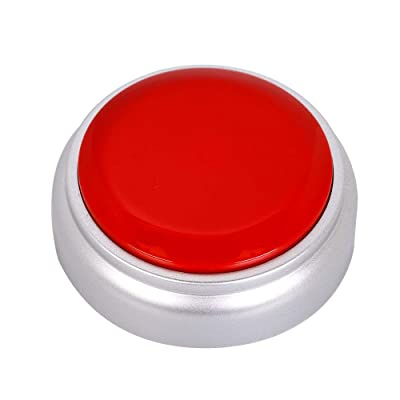 Neutral Voice Recording Button Easy Button Record 30 Seconds Talking Message Funny Office Gift Battery Powered Recordable Sound Buttons(red+Silver): Toys & Games