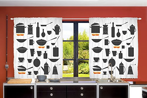 Ambesonne Country Farmhouse Decor Collection, Restaurant Suppliers Equipment Fire Themed Minimalistic Artwork, Window Treatments for Kitchen Dining Room Curtains 2 Panels Set, 55