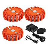Emergency Safety Flare, UNKNOK 3 Pack Rechargeable Roadside Emergency Disc Led Flares First Aid Kit Led Warning Lights Car Safety SOS Flashing Beacons with Magnetic Base for Car Boat Truck Vehicles