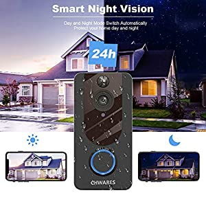CHWARES 1080P Smart Video Doorbell Camera with Chime, Wireless Wi-Fi Smart Video Doorbell Security Camera with Motion Detection, 2-Way Audio, Night Vision, Weather Resistant (Free Cloud Storage) (Color: Black)