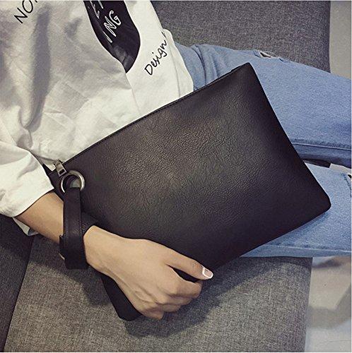 Leather Handbag Oversized and Purse Black Womens Evening Handbags Clutch Bag PU Hycurey Large Wristlet 6AXnxzz