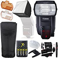 Canon Speedlite 600EX II-RT, Polaroid Mini Universal Studio Soft Box Flash Diffuser, RitzGear Cleaning Kit, Compact Battery Charger & Accessory Bundle