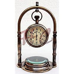 Brass Table Desk Clock~Victorian Nautical Pocket Watch~Maritime Brass Compass