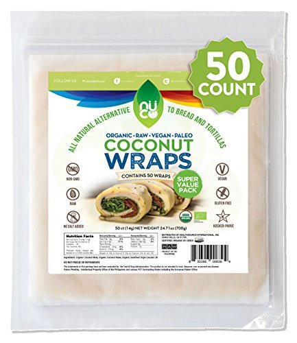 Grilled Cheese Bacon - NUCO Certified ORGANIC Paleo Gluten Free Vegan Coconut Wraps, 50 Count (One Pack of Fifty Wraps)