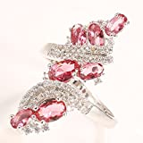 Charming Women Fashion 925 Silver Ruby Cluster Ring Engagement Wedding Jewelry (10)