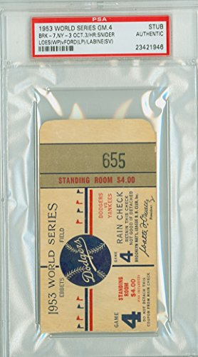 1953 World Series Yankees at Dodgers - Game 4 Ticket Stub BRK 7-3 WP Billy Loes LP Whitey Ford HR Duke Snider [Grades clean VgEx, very lt toning and sl bend] by Mickeys Cards (1953 Game World Series)