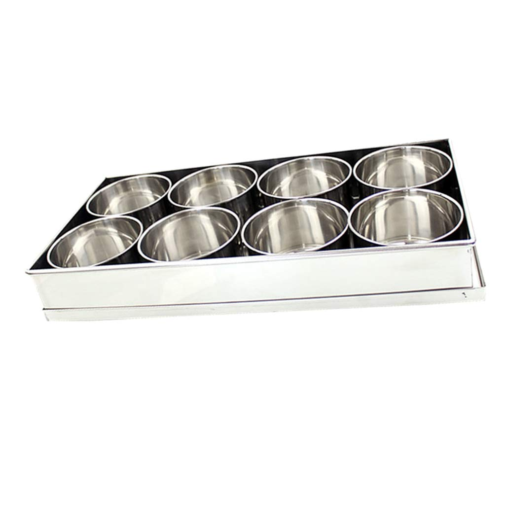 MagiDeal Stainless Steel Condiment Spice Jars, Condiment Pots with Tray Holder for Home and Kitchen, 350ml, 2 Types to Choose - 8 Pots