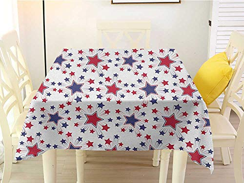 L'sWOW Square tablecloths are Available in a Variety of Colors USA Celebration Shooting Star Figures International Freedom Festival Art Print Night Blue Ruby White Plaid 50 x 50 Inch