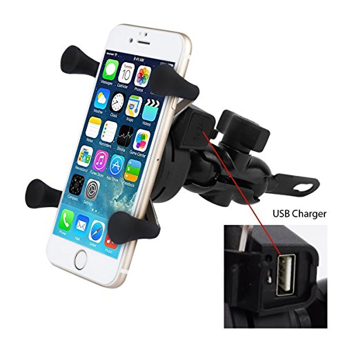 Motorcycle Phone Mount, WALTSOM Universal Bike Cell Phone Holder X Grip Handlebar Mirror Accessories with USB Charger for iPhone, Samsung, GPS Device