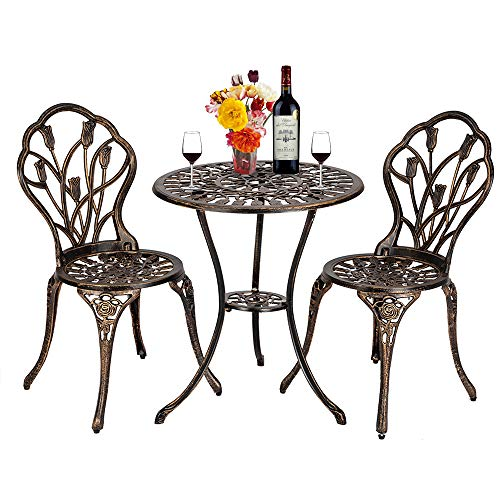 Bistro Table Set,Outdoor Patio Set 3 Piece Table and Chairs, European Style Cast Aluminum Outdoor 3 Piece Tulip Bistro Set of Table and Chairs,Bronze 3 Piece Bronze Pub Table