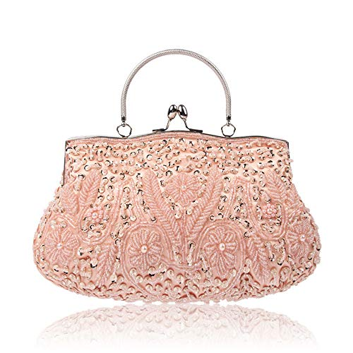 Enjoysports Sequin Evening Exquisite Bag Handmade Handbag amp; Glitter for Beads Ball Bags Pink Vintage Women Bridal Cluth Party Bag Beaded Wedding wptCwrq