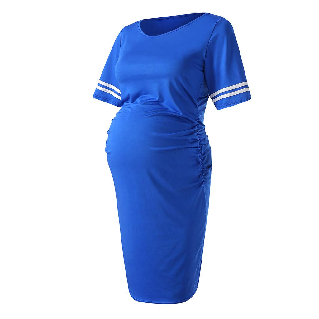 Womens Maternity Bodycon Dress Short Sleeves Casual Knee Length Pregnancy Dress Summer Side Ruched Mama Sundress Blue