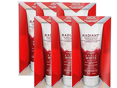 Colgate Optic White Toothpaste, Radiant Whitening - 6 Pack x 2.4 Fl Oz / 70 mL