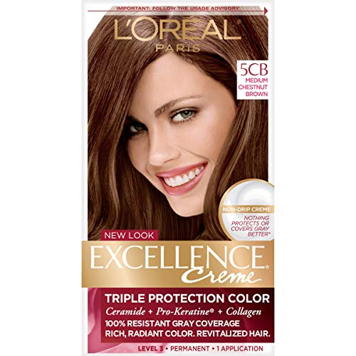 L'Oréal Paris Excellence Créme Permanent Hair Color, 5CB Medium Chestnut Brown, 1 kit 100% Gray Coverage Hair Dye