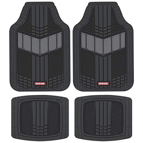 S10 Custom Interior - Motor Trend MTX101 Gray DualFlex Two-Tone Rubber Car Floor Mats for Automotive SUV Van Truck Liners - Channel Drainer All Weather Protection