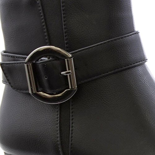 Lilley Womens Buckle Block Heeled Ankle Boot Black mN4SV