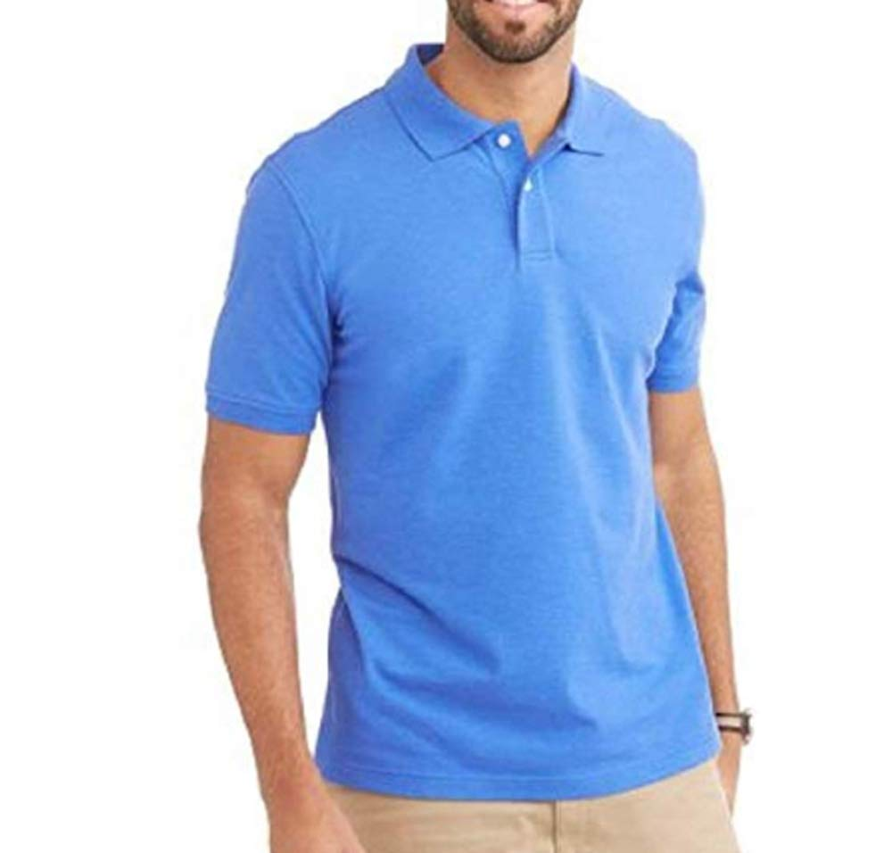 George Mens Patterned No-Roll Collar Short Sleeve Polo Shirt (Medium 38/40, Shazam Blue White)