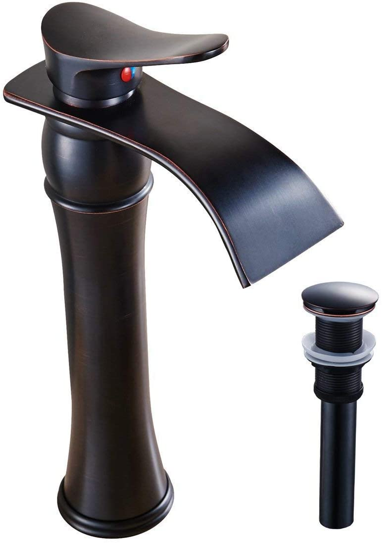 Bathlavish Waterfall Bathroom Vessel Sink Faucet Tall Single Handle Oil Rubbed Bronze Lavatory Modern Contemporary Mixer Tap One Hole Deck Mount with Pop Up Drain Assembly Without Overflow Commercial