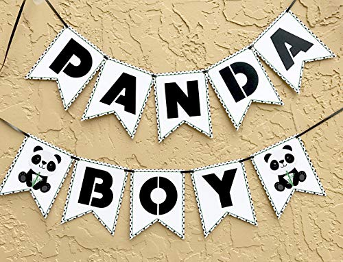 Panda Banner Boy Party Supplies, Bear Birthday Decoration, Green Baby Shower Garland]()