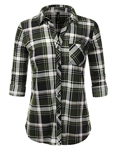 Button Down Green Shirt Plaid (JJ Perfection Womens Checkered Long Sleeve Collared Button Down Plaid Flannel Shirt BLACKOLIVE 3XL)