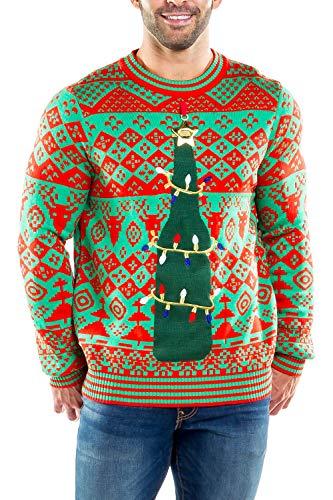 Tipsy Elves Men's Bottle Opener Sweater: Large Red
