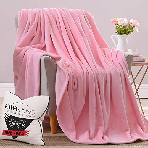 Kawahoney Faux Mink Nebula Fleece Blanket Pink Queen 130% Thicker Than Blankets of Equal Weight Customized for Luxury Life Durable Cozy Warm Super Soft Fluffy Fuzzy Couch Sofa Bed Blanket ()