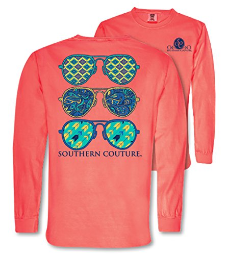Southern Couture SC Comfort Wild Aviators on Long Sleeve Womens Fit Shirt - Neon Red Orange, X-Large