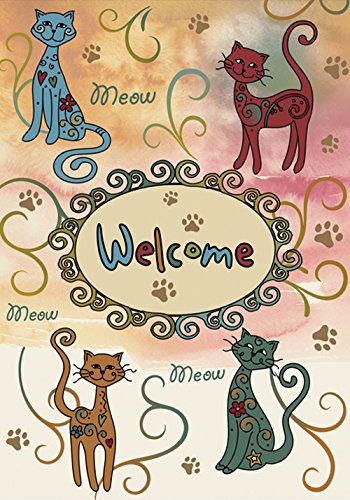 Toland Home Garden Meow Welcome 12.5 x 18 Inch Decorative Kitty Cat Pet Paw Garden Flag - Homes Message Flag