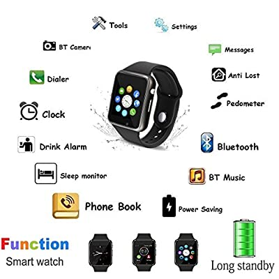 Bluetooth Smart Watch - 321OU Touchscreen Smartwatch Sport Smart Fitness Tracker Watch Smart Wrist Watch Support SIM TF Card with Camera for IOS iPhone Android Samsung LG for Kids Men Women