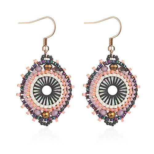 - Jane Eyre Boho Dangle Crystal Glass Beaded Earrings for Women Ethnic Handmade Rounded Earrings (White & Multicolor)