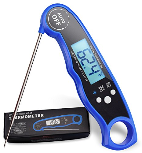 PureDazz Instant Read Cooking Thermometer, Waterproof Digital Meat Thermometer Super Fast Food thermometer with Collapsible Probe LCD for BBQ Grill Cooking Smoker Liquid … (Blueberry)