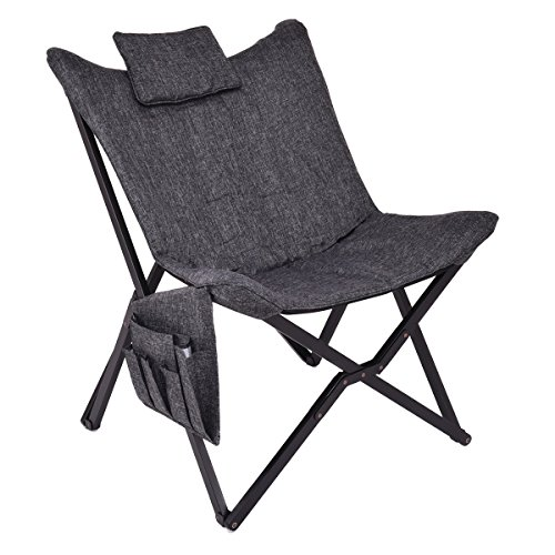 Giantex Folding Butterfly Chair Seat Wood Frame Home Office Furniture Portable (Black) (Butterfly Padded Chair)