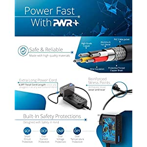 Pwr AC Adapter – 2.1A Extra Long UL Listed  Rapid Charger – 2y Warranty