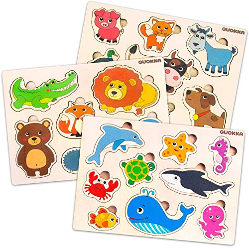 Toddler Wooden Puzzles for 1 2 3 Year Old - Wood Baby Toy for Curious Kids Age 1-3 - Joyful Learning of Animals and Shapes